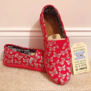 Toms Red Butterfly Slip Ons